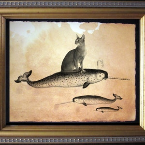 Sandcat Cat Riding Narwhal Vintage Collage Print tea stain cat art cat gifts for christmas gifts for cat lovers gifts for boyfriends