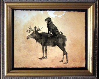 Labrador Retriever Chocolate Lab Riding Moose Vintage Collage Art Print on Tea Stained Paper dog art  dog s    xmas  for mom