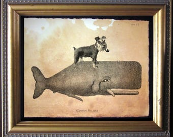 Mini Schnauzer Dog Riding Whale Vintage Collage Print tea stain dog art dog gifts for christmas gifts for dog owners gifts for boyfriends
