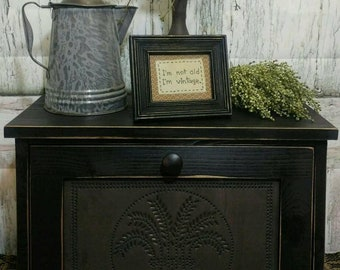 Rustic bread box with tin door Punched tin breadbox Breadbox wheat tin bread box Tin door bread box