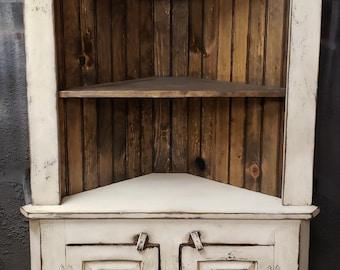 Primitive corner hutch/ Rustic Corner hutch/ Corner Cabinet/ Vintage corner hutch
