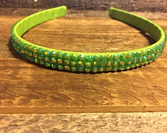 Lime green headband. Lime green headband with rhinestones. Flower girl headband. Birthday girl headband