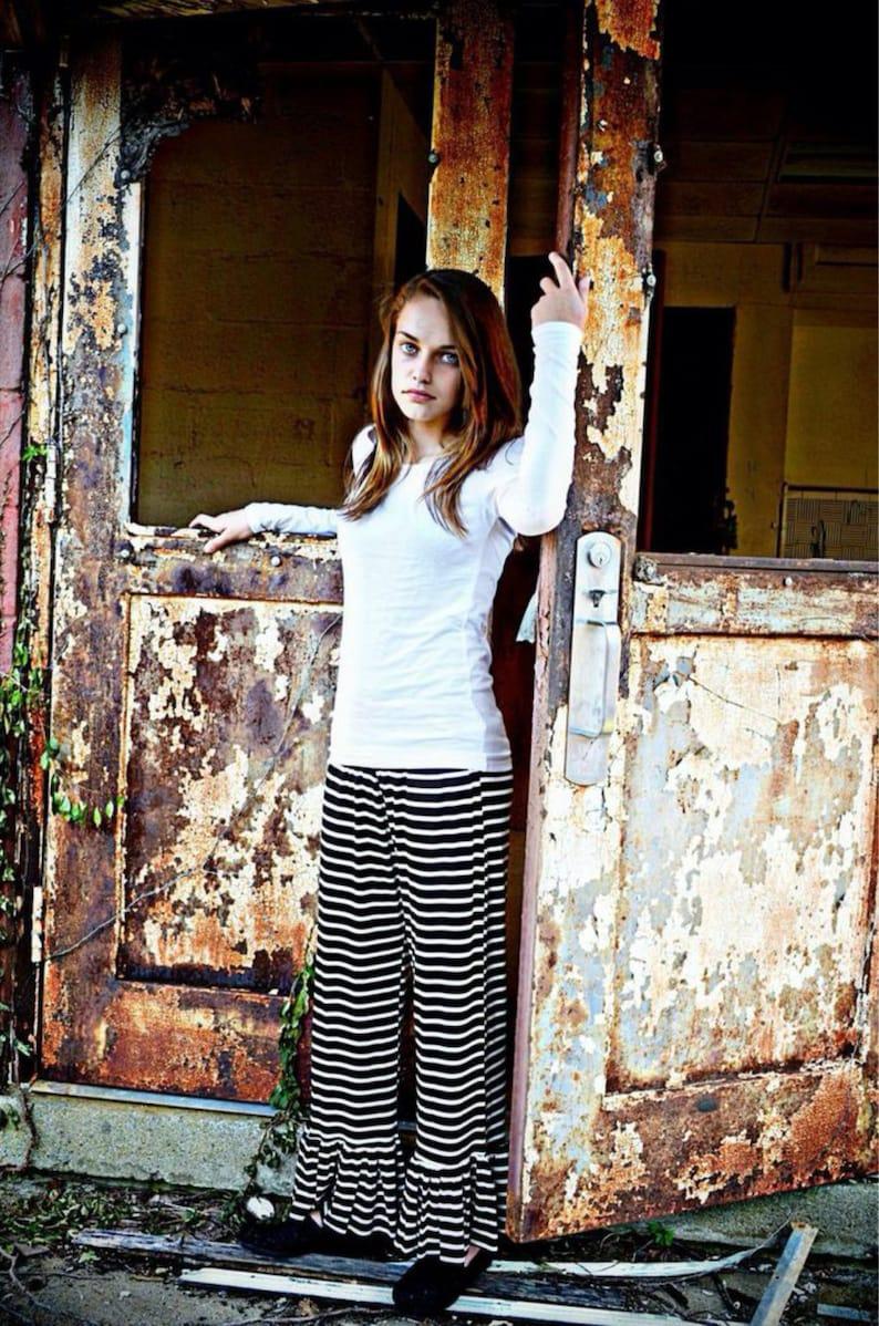 Women's Handmade Striped ruffled  pants inspired by image 0