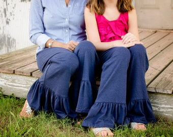Women's Junior's Girls  Custom  Handmade Ruffle Pants made in America.