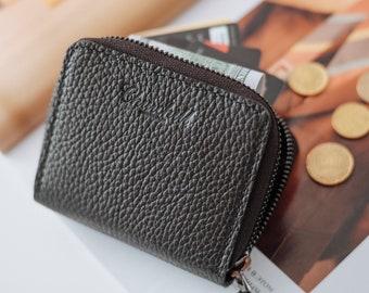 Black leather zip wallet Handmade, Minimalist Zipper Wallet, card zip wallet, Small leather wallet, simple leather wallet, compact wallet