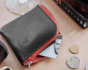 Handmade leather zip wallet, coin wallet, Minimalist Zipper Wallet, Half zip wallet, Small leather wallet, simple leather wallet