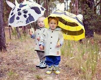 Children's Coat,Boys Coat, Unisex Jacket, Girls Jacket, Fully Lined Australian MOLESKIN  with adorable linings Sizes 1, 2, 3, and 4 Years