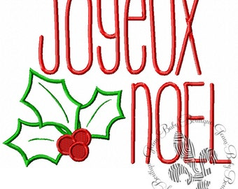 Joyeux Noel Machine Embroidery Applique Design