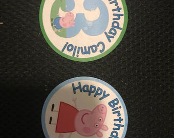 48 Peppa pig set of round  labels  for party loot bag, party favor, birthday party, Gift Wrap, baptism, first communion