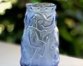 Lalique Circus Elephant Vase. Blue, Perfect Mint Condition, Rare, Signed