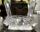 Lalique Venise Crystal Vase with 2 Lion Heads Great Condition Signed Authentic