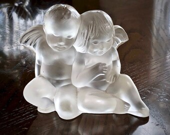 Lalique Two Angelots Twins Angel Crystal Figurine #1209300 515USD Retail MINT