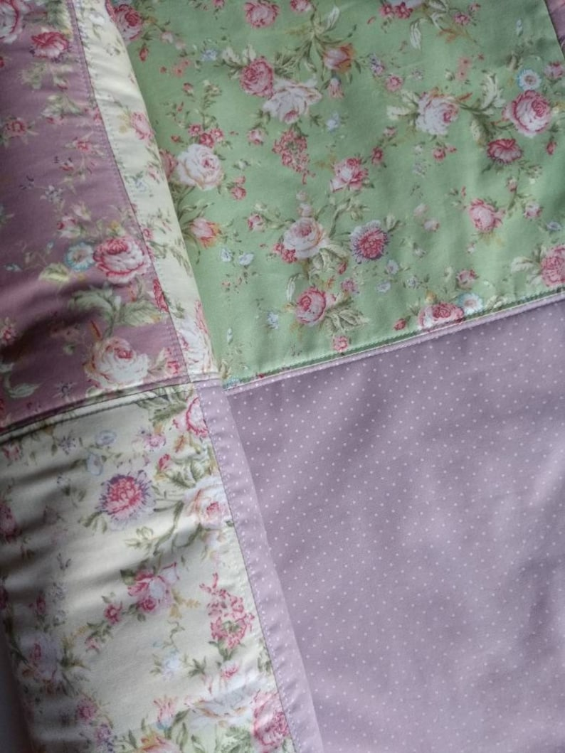 Shelby Jayde Shabby Chic Patchwork Baby Blanket in Blush and Peacock