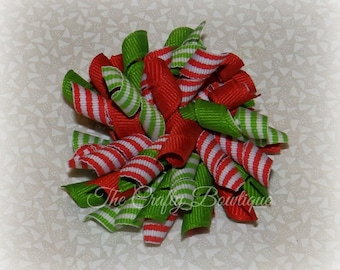 christmas korker bow red green bow red striped bow christmas hair bow green striped bow large korker bow korker pigtail bows - Large Christmas Bows