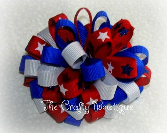 Patriotic Stars Bow, 4th of July Bow, Patriotic Hair Bow, Large Loopy Bow, Star Hair Bow, Red White & Blue, Patriotic Headband Bow
