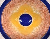 """9 3/4"""" Carved Yellow Orange Blue Porcelain Serving Bowl"""