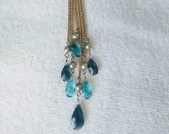 Dangle Blue Stones Y Goldtone Necklace, Vintage Statement Necklace.