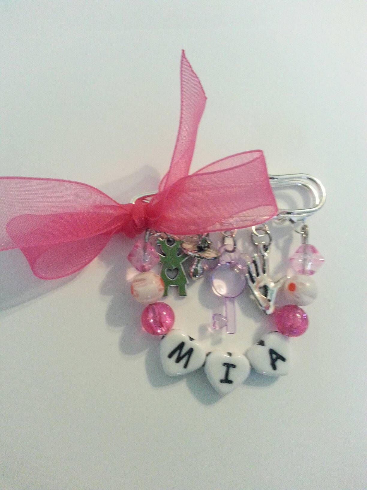 Personalized Baby Girl Safety Pin for Stroller or Bassinet.