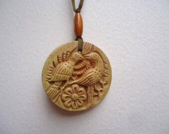 Carved Love Birds Resin Necklace / Birds Pendant