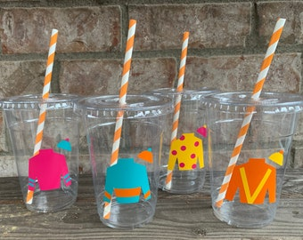 Kentucky Derby Disposable Party Cups with lids and straws -  16oz and 12oz disposable cups
