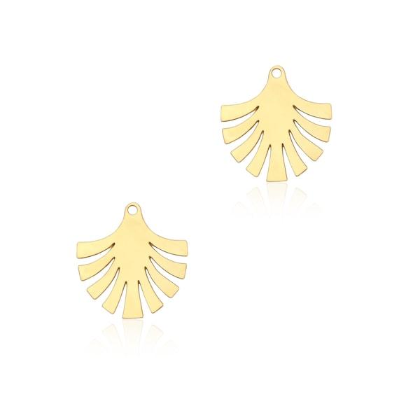 Gold Leaf Pendant, 2Pcs, Gold Leaf Charm, Gold Leaf Fan, Art Deco Fan, Palm Leaf Pendant, Laser Cut Charms, Laser Cut Findings, GoldieJS
