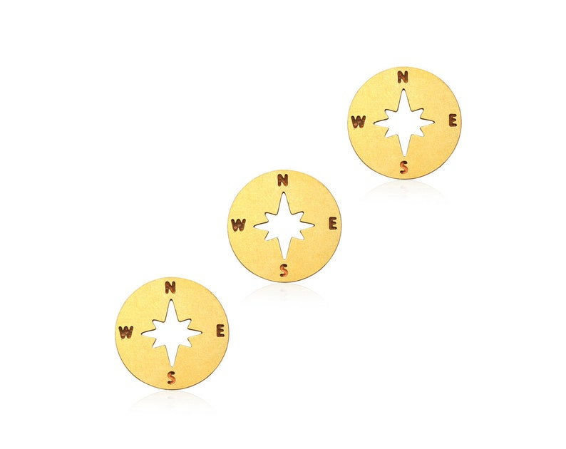 4pcs-Brass Compass charm,explore charm,direction charm