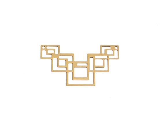 Raw Brass Art Deco Pendant, 1 Pc, Large Geometric Pendant, Square Chevron Pendant, Large Squares Connector, Stair Steps Pendant, Laser Cut