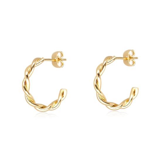 Hoop Earrings, Gold Hoop Earrings, 1 Pair, Deep Gold hoop, Tiny hoop Earrings,  Rope hoop Earring, Wholesale Earring, Earring Supply