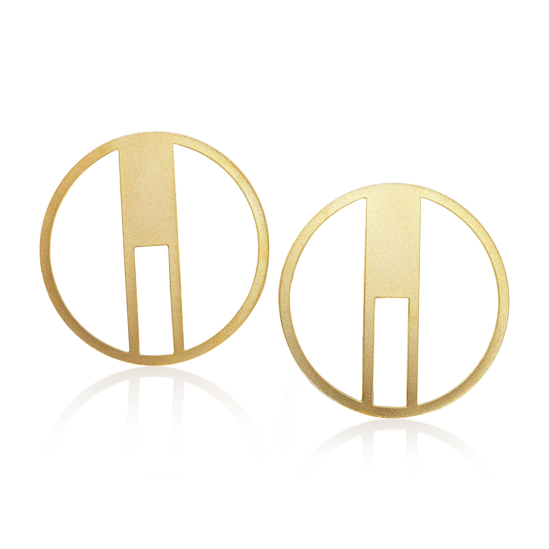 Geometric Circle Earrings 1 Pair Gold Circle Stud Earrings