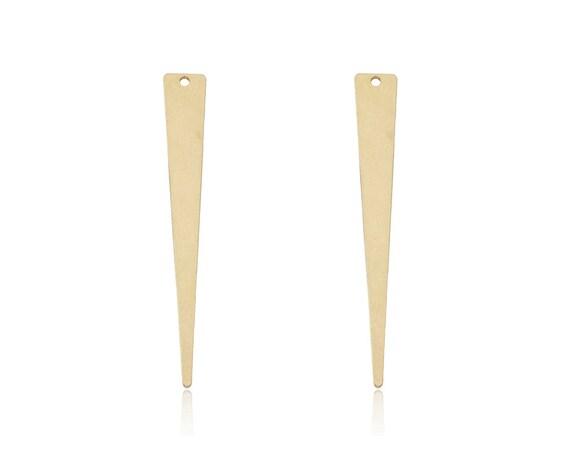 Raw Brass Triangle Pendant, 2 Pcs, Long Triangle Pendant, Brass Spike Pendant, Geometric Jewelry, Long Triangle Charm, Long Triangle Blank