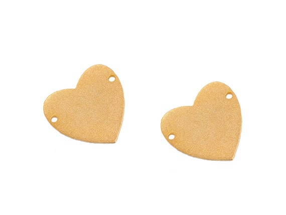 Matte Gold Plated Heart Pendant, 2 Pc , Exclusive at Goldie Supplies