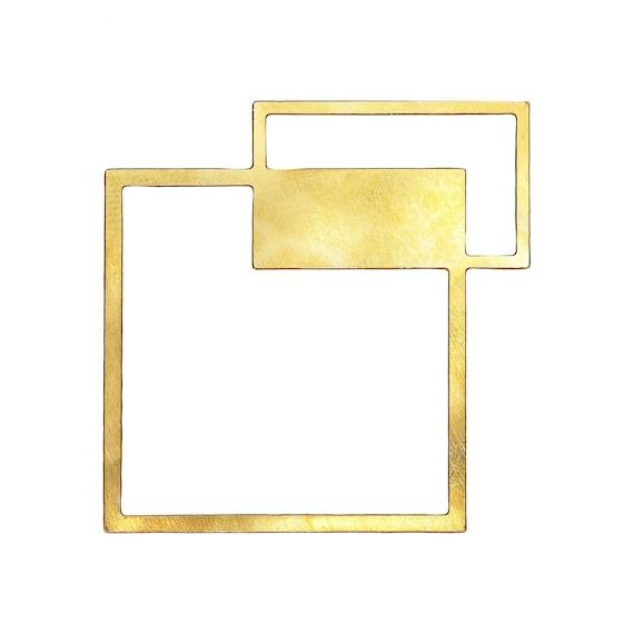 NEW Square Pendant, 1 Pc, Asymmetric Square, Large Square Pendant, Art Deco Pendant, Geometric Jewelry, Geometric Pendant, Laser Cut Pendant