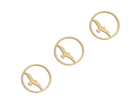 Raw Brass Bird Pendant, 3 Pc Laser Cut Jewelry, Birds, Sea Gulls, Exclusive at Goldie Supplies