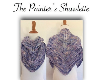 The Painter's Shawlette  | Instant Download | PDF Knitting Pattern | Easy & Beginner Level