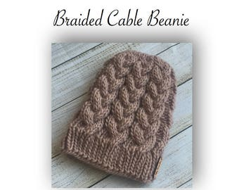 Knit Braided Cable Beanie  | Instant Download | PDF Knitting Pattern | Easy to Intermediate Level
