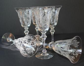 Tiffin Fransciscan Cherokee Rose Water Goblet Etched Glass Set of 4