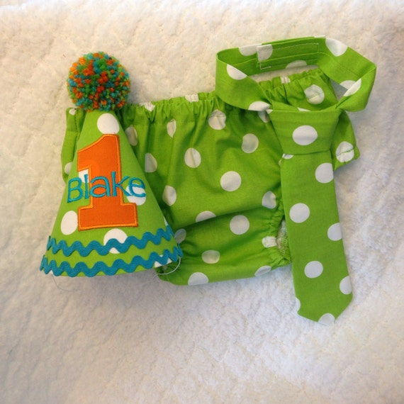 Boys Cake Smash Outfit First Birthday Lime Green