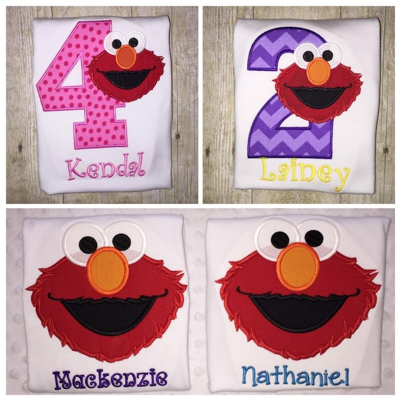Elmo birthday shirt  embroidered shirt image 0