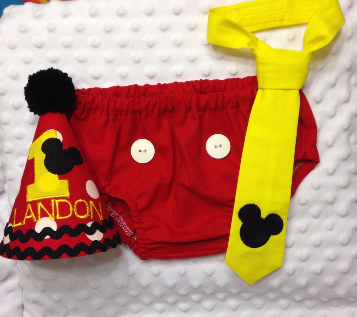 Boys Cake Smash Outfit Mickey Mouse Diaper Cover Tie Birthday Hat
