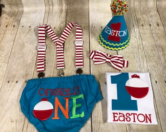 Boys Cake Smash Outfit - Fishing Party - Ofishally One - The Big One - Diaper Cover, Bow Tie &  Hat - Shirt - Bobber - First 1st Birthday