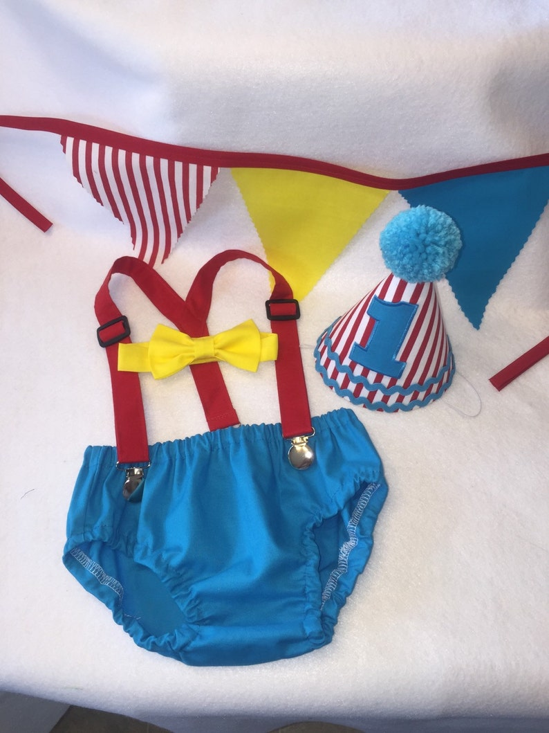 Bow Tie /& Birthday Hat Diaper Cover Boys Cake Smash Outfit Birthday Set Carnival or Circus theme