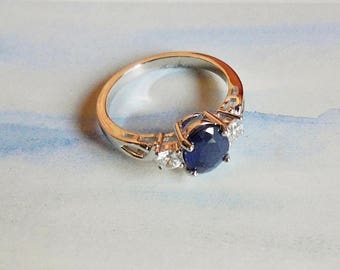 Madagascar Sapphire Ring, 925 Sterling Silver Ring, White Gold Ring