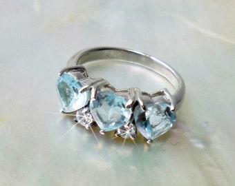 Ring Sky Blue Topaz Brazil & CZ, 925 sterling Silver and White Gold