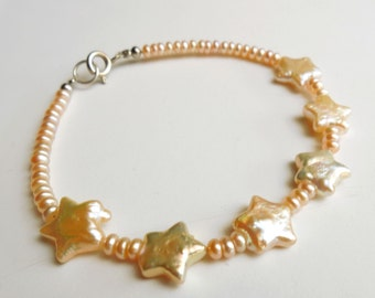 Pink Pearls bracelet stars shaped and rondel in 925 sterling Silver