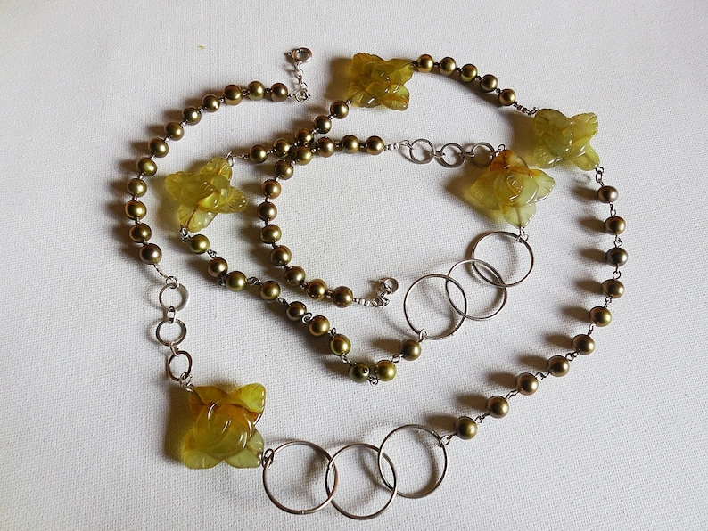 bronze Pearls and 925 sterling Silver Exclusive flowers Korean Jade necklace