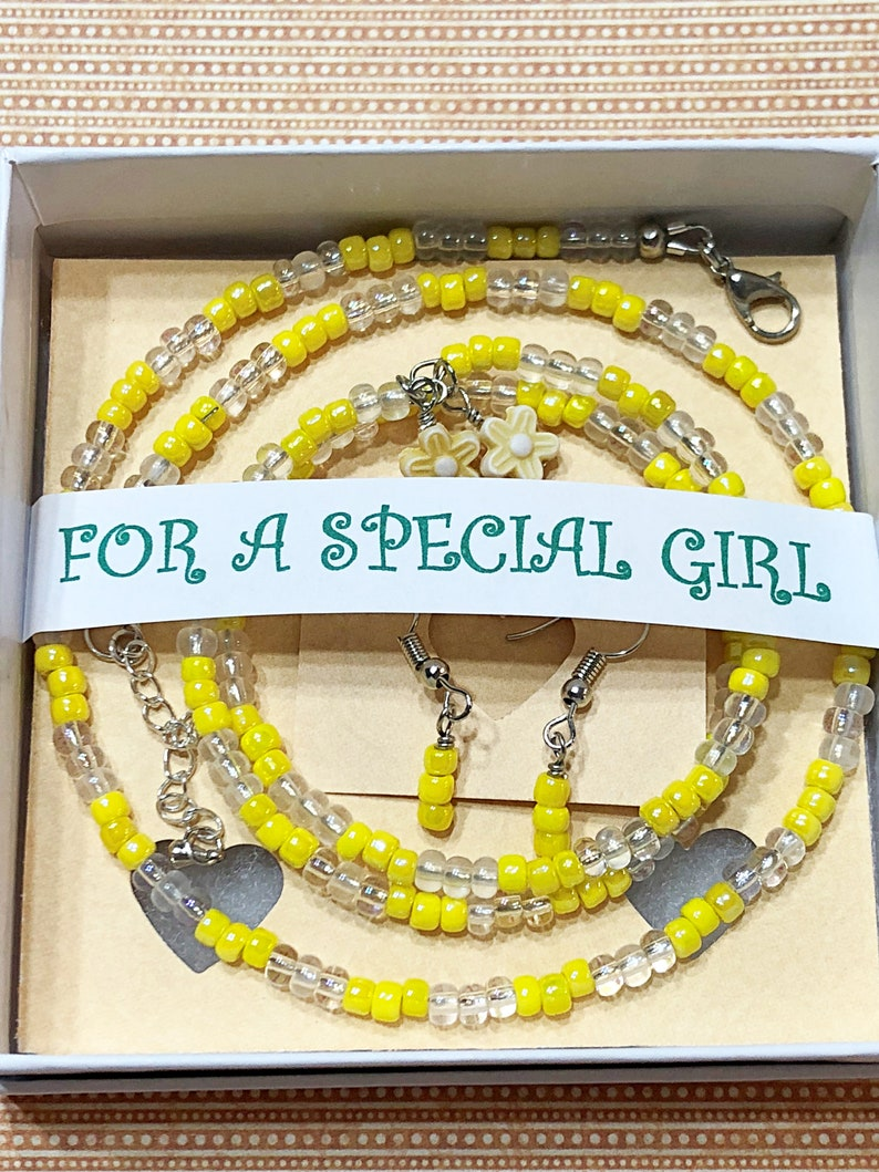 Girls 3 piece Jewelry set Girls Yellow Necklace set Girls image 0