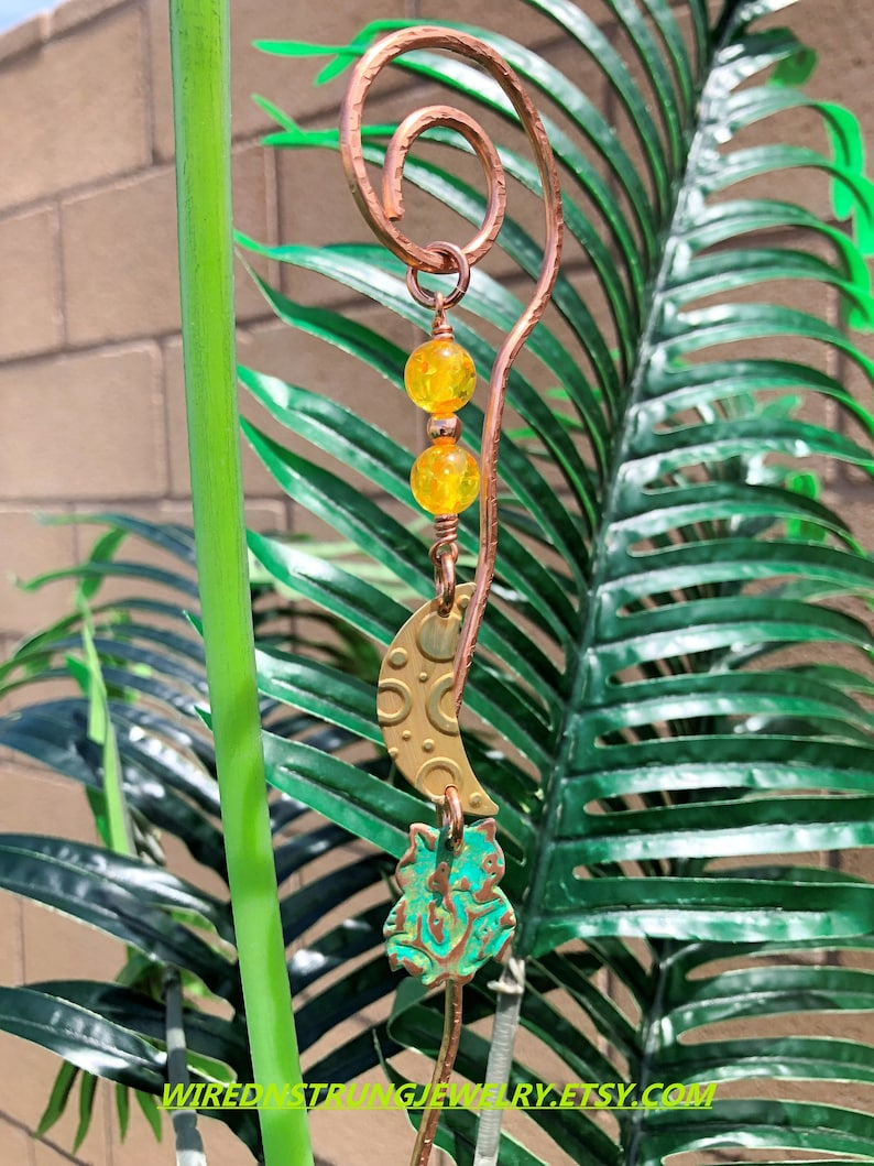 Whimsical Plant Stakes Owl Plant Stake Copper Plant Stakes image 0