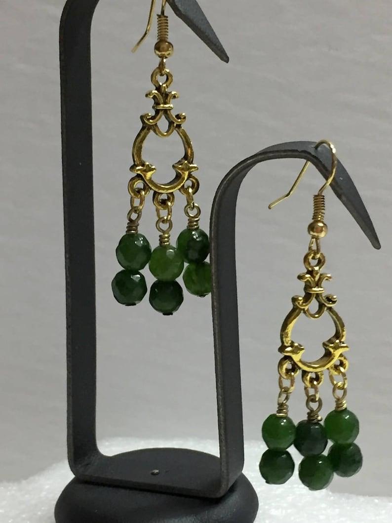 Jade Earrings Brass Earrings Boho Earrings Dangle Earrings image 0