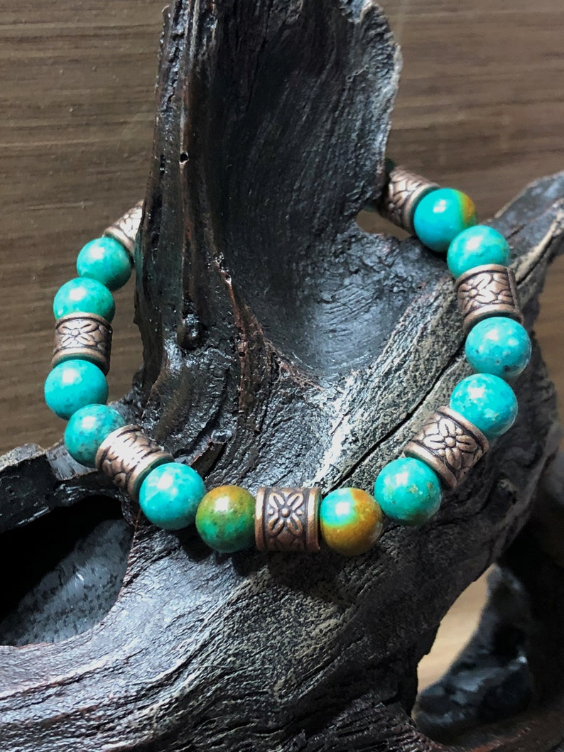 Gemstone Bracelet Turquoise Bracelet Copper Bracelet Stone image 0