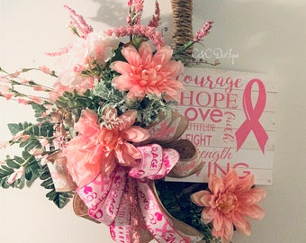 Breast Cancer Wreath,Breast Cancer Gift,Breast Cancer Believe Wreath,Breast Cancer Awareness Wreath,Cancer Survivor Wreath,Hope Wreath.